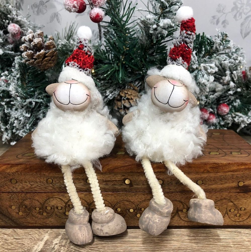 Fluffy Sheep Shelf Sitters Set of 2 Christmas Mantel Decorations